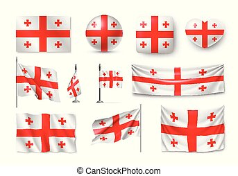 Set Georgia flags, banners, banners, symbols, flat icon