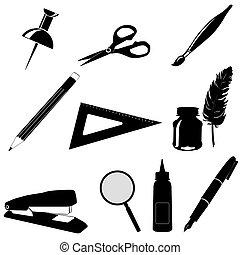 set, gereedschap, de pictogrammen van het bureau