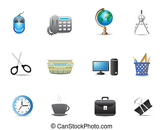 set, gereedschap, kantoor, pictogram