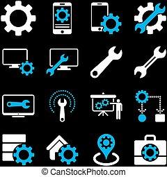 set, gereedschap, opties, dienst, pictogram
