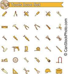 set, gereedschap, pictogram