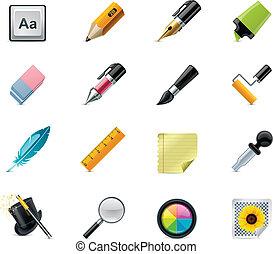 set, gereedschap, tekening, pictogram, schrijvende