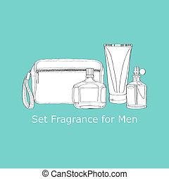 set, geur, voor, mannen