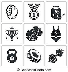 set, gewicht, worstelen, arm, het tilen, pictogram