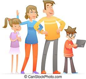 set, gezin, illustratie, vector, ontwerp, karakters, spotprent