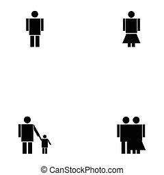 set, gezin, pictogram