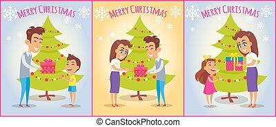 set, gezin, vrolijk, affiches, kerstmis, vrolijke