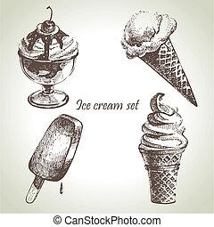 set., ghiaccio, mano, illustrazioni, disegnato, crema