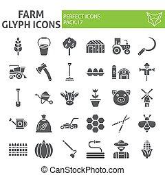 set, giardinaggio, pacchetto, solido, collezione, isolato, disegni, simboli, fattoria, vettore, fondo., pictograms, segni, logotipo, bianco, icona, agricoltura, illustrazioni, glyph