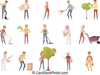 set, giardiniere, caratteri, icona