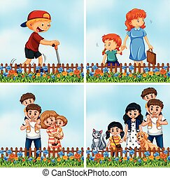 set, giardino, famiglia, felice