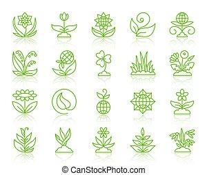 set, giardino, icone, semplice, colorare, vettore, linea