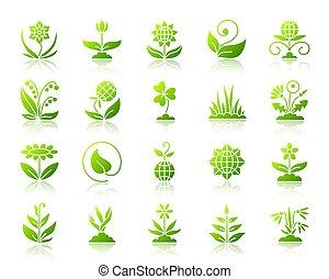 set, giardino, icone, semplice, pendenza, vettore, verde