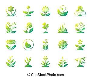 set, giardino, icone, semplice, pendenza, vettore