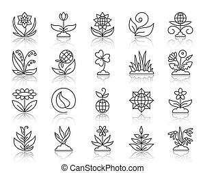 set, giardino, icone, semplice, vettore, nero, linea