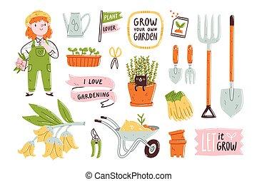 set, giardino, illustrazione