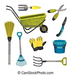 set, giardino, vettore, tools., differente, illustration.