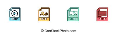 Set GIF file document, OTF, JPG and TXT icon. Vector.