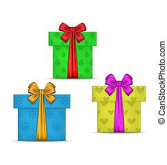 Set gift boxes isolated on white background