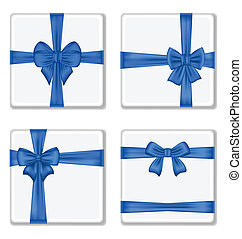 Set gift boxes with blue bows isolated on white background