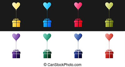 Set Gift with balloon in shape of heart icon isolated on black and white background. Valentine's day, wedding, birthday card. Vector