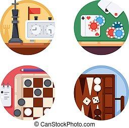 set, giochi, asse, icone