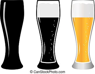 Set glass beer. Glass beer with foam isolated on background. Lager beer icon. Vector illustration beer black and white.
