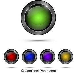 Set glass buttons for web design.