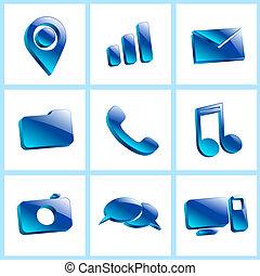 set glass icons button color symbol