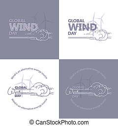 set., global, embleme, vector., tag, wind