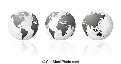 set, globe, metalen, planeet, landkaarten, wereld, aarde, transparant, zilver