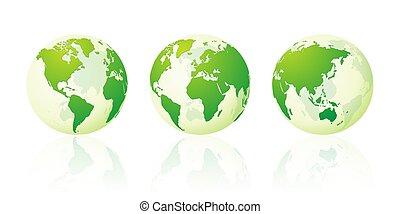 set, globe, planeet, landkaarten, groene, wereld, aarde, transparant