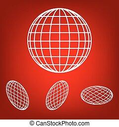 set, globo, -, vettore, terra, icona