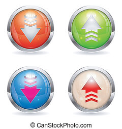 Set three dimensional round Download and Upload button with Arrow icon, isolated on white, vector