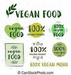 set, gluten, gezonde , eco, organisch, bio, voedingsmiddelen, labels., kosteloos, honderd, retro
