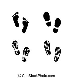 Set glyph icons of footsteps isolated on white. Boot and bare footprints silhouettes, shoeprint symbol, walking sign. Vector illustration