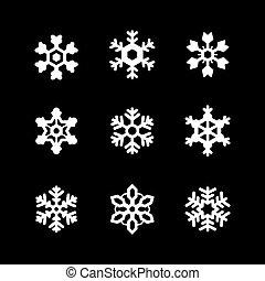 Set glyph icons of snowflake