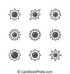Set glyph icons of sun