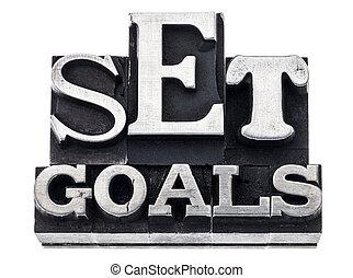 set goals in metal type
