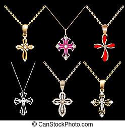 set gold cross pendant with gems - Illustration set gold...