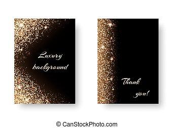 Set golden light - Set of shiny backgrounds with golden...