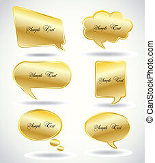 Set golden Speech Bubble. Vector