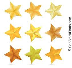 Set Golden star on white background