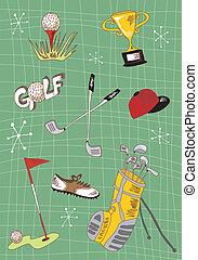 set, golf, cartone animato, icone
