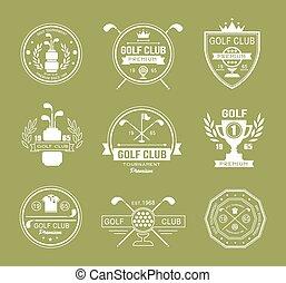 set, golf, logos, club, etiketten, emblems