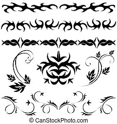 different set of Gothic patterns and ornaments