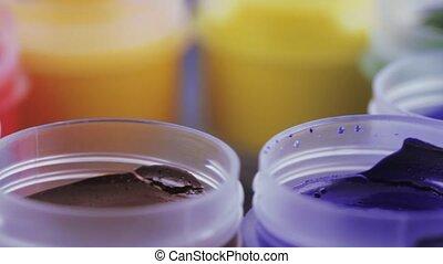 Set gouache in jars - Set of 8 colors of gouache in plastic...