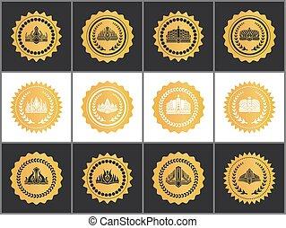 set, goud, koninklijke kronen, tekens, goedkeuring, kwaliteit