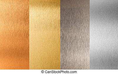 set, goud, metaal, nonferrous, zilver, brons