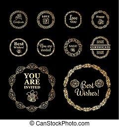 set, goud, ronde, achtergrond., black , lijstjes, randjes, of